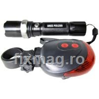 Set lumini bicicleta Bass BS-3924, 120 lm, Li-Ion, aluminiu, Led Cree XP-G R5, 2000mAh, IP55